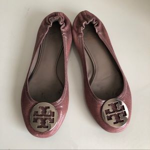 TORY BURCH Reva Ballet Flats Pink Purple Mauve 8.5